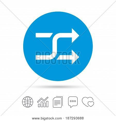 Shuffle sign icon. Random symbol. Copy files, chat speech bubble and chart web icons. Vector