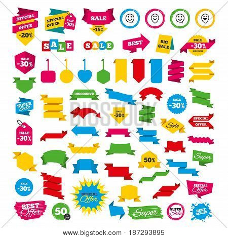 Web banners and labels. Special offer tags. Happy face speech bubble icons. Smile sign. Map pointer symbols. Discount stickers. Vector
