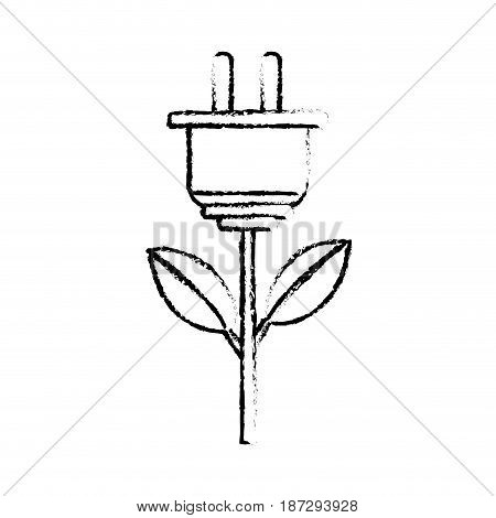 line power cable plant with leaves, vector illustration design