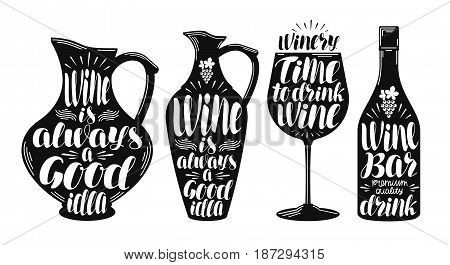 Wine, winery label set. Collection decorative elements for menu restaurant or cafe. Lettering, calligraphy vector illustration isolated on white background