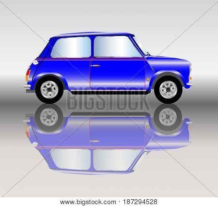 A typical generic mini car with reflections