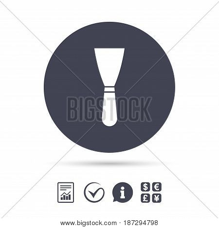 Spatula sign icon. Wall repair tool symbol. Report document, information and check tick icons. Currency exchange. Vector