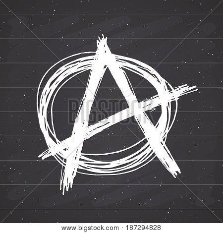 Anarchy sign hand drawn sketch. Textured grunge punk symbol. vector illustration on chalkboard background