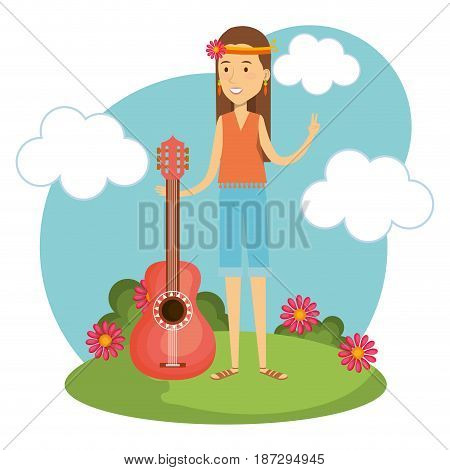 Hippie woman with flowers, guitar and blue sky over white background. Vector illustration.