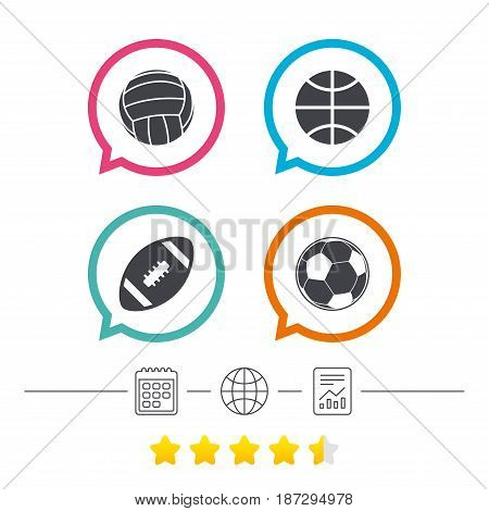 Sport balls icons. Volleyball, Basketball, Soccer and American football signs. Team sport games. Calendar, internet globe and report linear icons. Star vote ranking. Vector