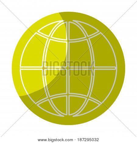 sticker global symbol to earth planet, vector illustration design