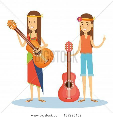 Hippie girls with guitars over white background. Vector illustration.