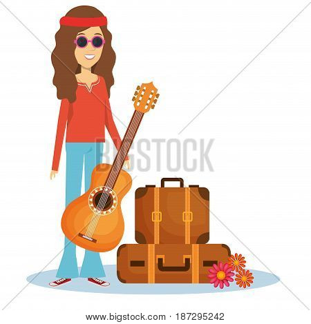 Hippie woman with guitar, suitcases and flowers over white background. Vector illustration.