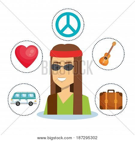 Hippie menwith related object stickers over white background. Vector illustration.