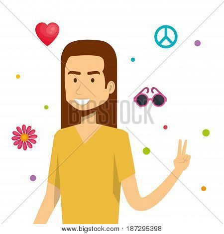 Hippie man with related objects over white background. Vector illustration.