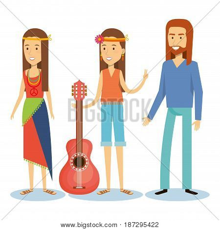 Hippie girls and man with guitar over white background. Vector illustration.