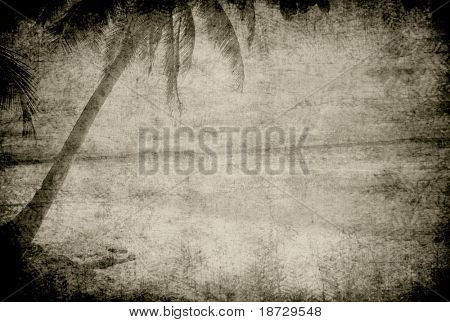 vintage palm tree with grunge background