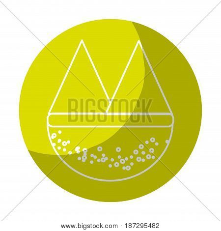 sticker beautyful and natural mountains ecology, vector illustration design