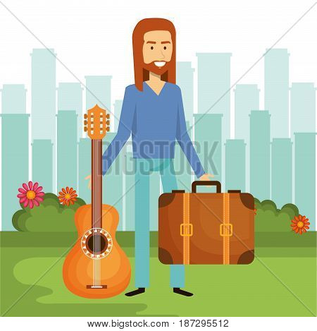 Hippie man holding a guitar and suitcase with city skyline background. Vector illustration.