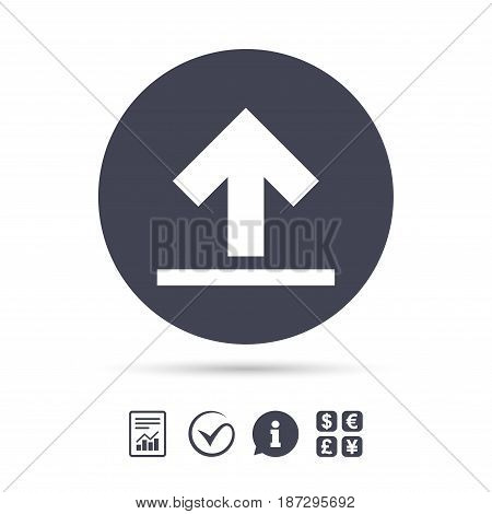 This side up sign icon. Fragile package symbol. Report document, information and check tick icons. Currency exchange. Vector