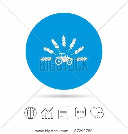 Tractor with Wheat corn sign icon. Agricultural industry symbol. Copy files, chat speech bubble and chart web icons. Vector
