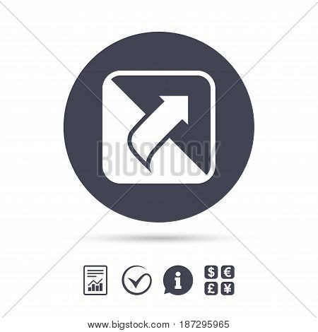 Turn page sign icon. Peel back the corner of the sheet symbol. Report document, information and check tick icons. Currency exchange. Vector