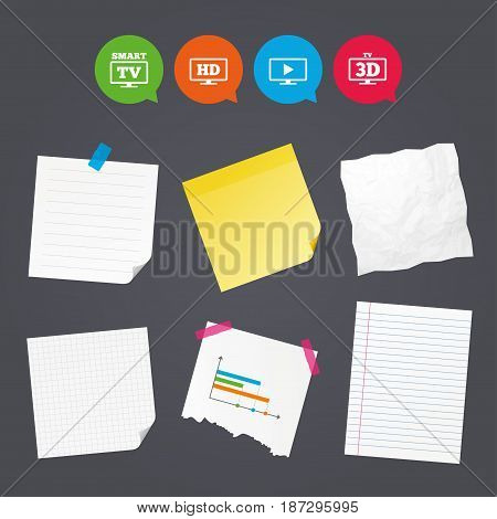 Business paper banners with notes. Smart TV mode icon. Widescreen symbol. High-definition resolution. 3D Television sign. Sticky colorful tape. Speech bubbles with icons. Vector