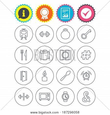 Report, information and award signs. Universal icons. Fitness dumbbell, home key and candle. Toilet paper, knife and fork. Microwave oven. Check tick symbol. Flat buttons. Vector