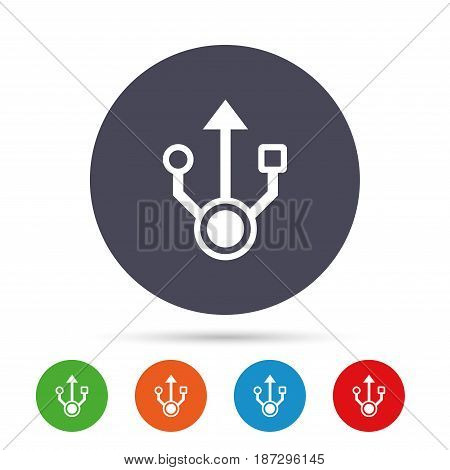 Usb sign icon. Usb flash drive symbol. Round colourful buttons with flat icons. Vector