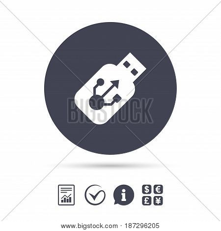 Usb sign icon. Usb flash drive stick symbol. Report document, information and check tick icons. Currency exchange. Vector