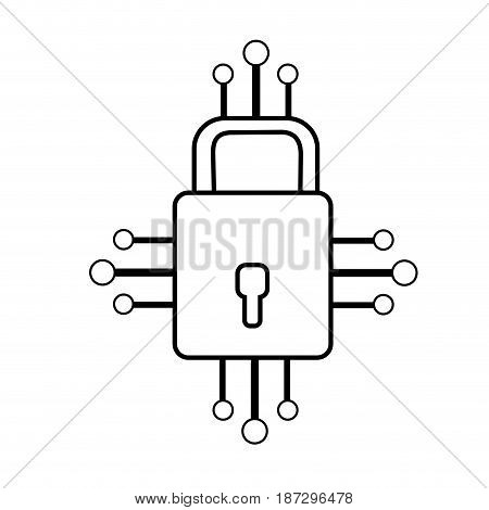 line padlock with circuits to security dgital connection, vector illustration