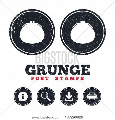 Grunge post stamps. Wallet sign icon. Cash bag symbol. Information, download and printer signs. Aged texture web buttons. Vector