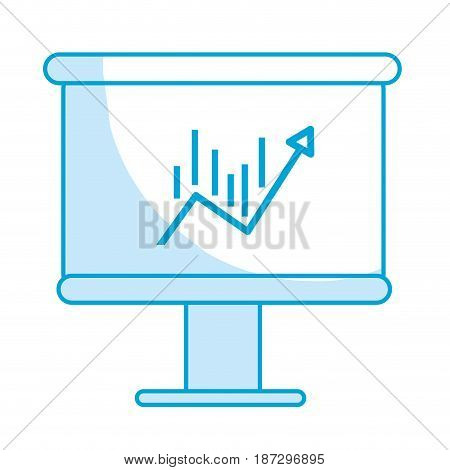 silhouette board with statistic arrow up to financial business, vector illustration