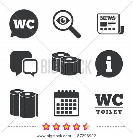 Toilet paper icons. Gents and ladies room signs. Paper towel or kitchen roll. Speech bubble symbol. Newspaper, information and calendar icons. Investigate magnifier, chat symbol. Vector