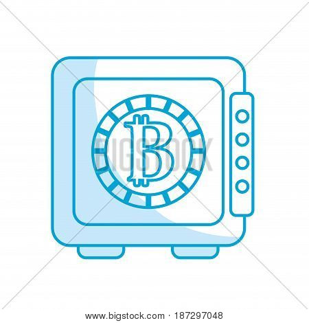 silhouette strongbox open with bitcoin currency inside, vector illustration