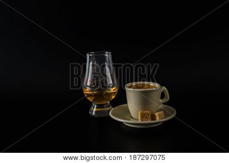 Single Malt Tasting Glasses, Single Malt Whisky In A Glass And Black Coffee In The White Cup