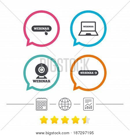 Webinar icons. Web camera and notebook pc signs. Website e-learning or online study symbols. Calendar, internet globe and report linear icons. Star vote ranking. Vector