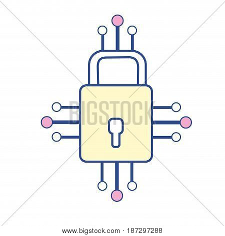 padlock with circuits to security dgital connection, vector illustration