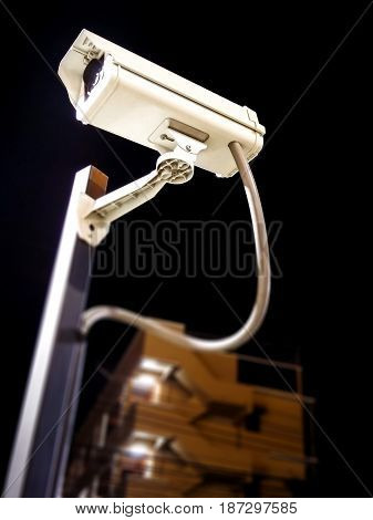Commercial Security Camera in Service in the Evening