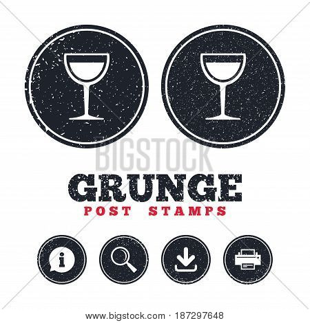 Grunge post stamps. Wine glass sign icon. Alcohol drink symbol. Information, download and printer signs. Aged texture web buttons. Vector
