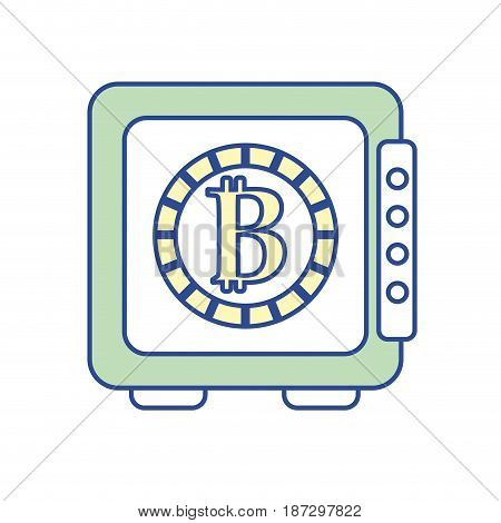 strongbox open with bitcoin currency inside, vector illustration