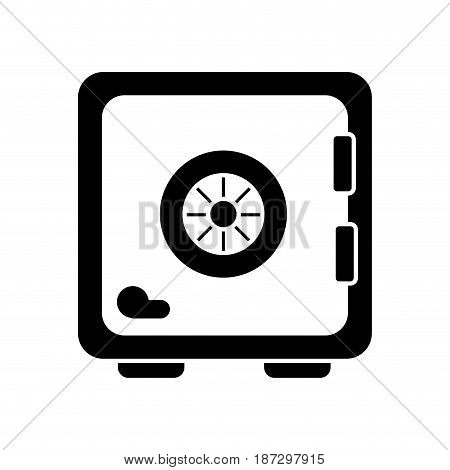 contour strongbox close to security of special thing, vector illustration