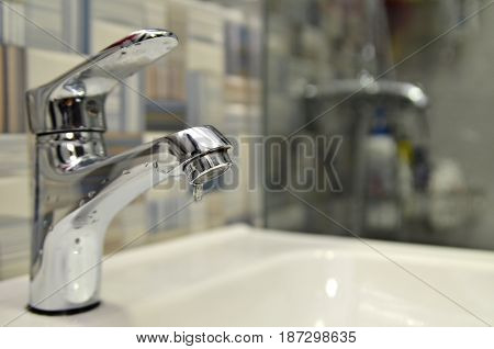 Bathroom Tap Leaking Water Drops