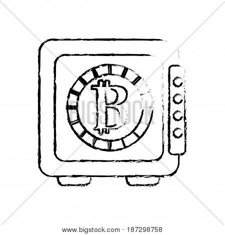 figure strongbox open with bitcoin currency inside, vector illustration