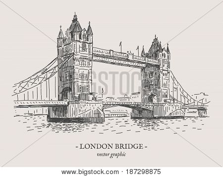 London Tower bridge retro vector drawing on grey background