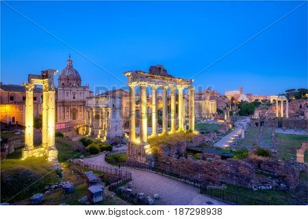 Forum Romanum Archeological Site In Rome After Sunset