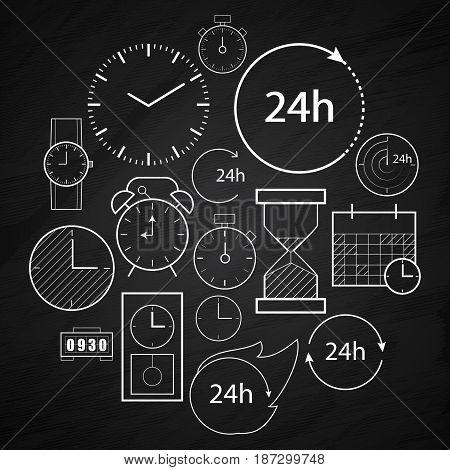 time icons background illustration clock design symbol