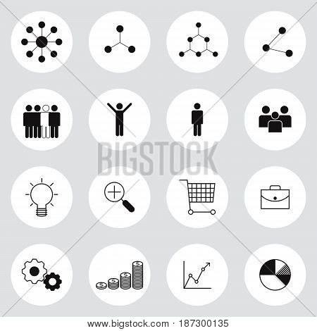 business management icons set symbol vector illustration