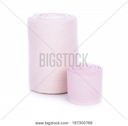 Medical Elastic bandage isolated on white background.