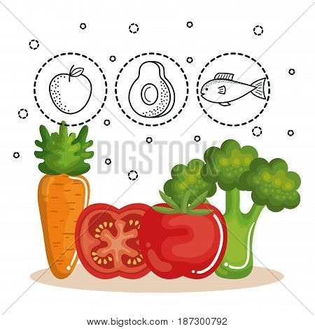 Carrot, tomato and broccoli with hand drawn food stickers over white background. Vector illustration.