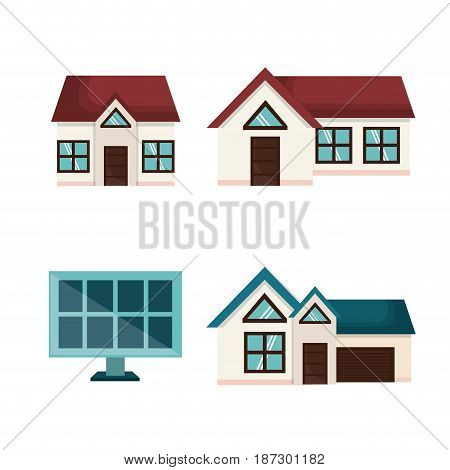 Set of houses and solar panel over white background. Vector illustration.
