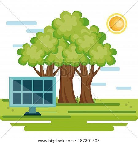 Countryside with trees and solar panel on a sunny day over white background. Vector illustration.