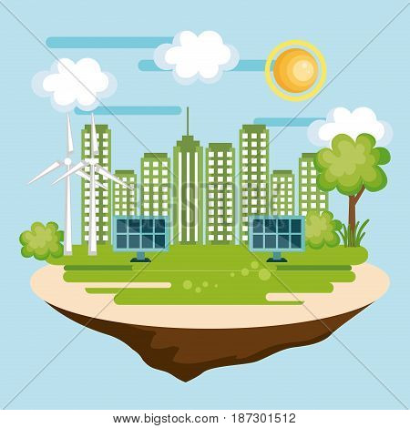 Eco friendly city with solar panel and wind turbines over blue background. Vector illustration.