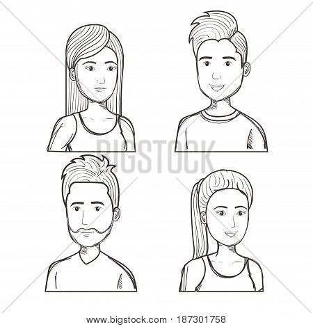 Hand drawn uncolored people set over white background. Vector illustration.
