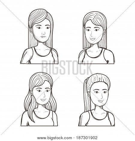 Hand drawn uncolored girls with different hairstyles set over white background. Vector illustration.